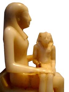Ankhesenmeryre II and her son Pepi II. The difference in size suggests that he was a baby and his Mother was his Regent
